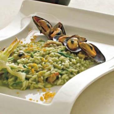 Risotto zucchine, cozze pelose e bottarga di  muggine di Orbetello