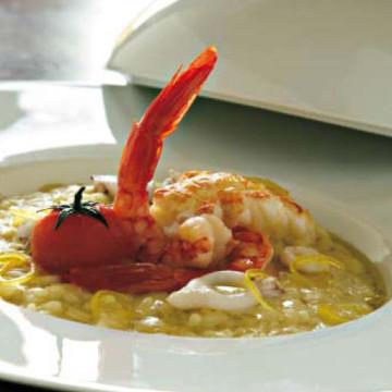 Risotto al limone candito con pesce e crostacei del Tirreno