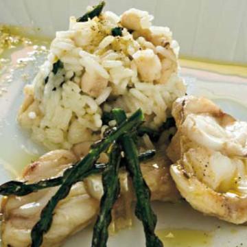 Tortino di riso al profumo di asparagi e rana pescatrice
